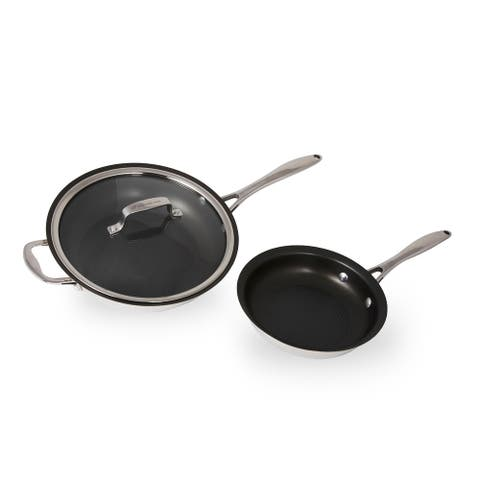 Wolfgang Puck 3-Piece Stainless Steel Skillet Set, Scratch-Resistant Non-Stick Coating, Includes a Large and Small Skillet