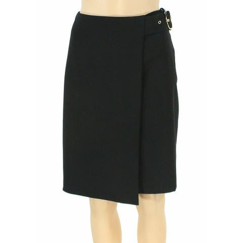 Calvin Klein Womens Skirt Gold Black Size 14P Petite Straight Belted