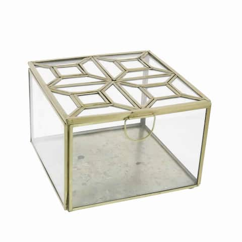 Modern Designed Square Leaded Top Box with Metal Handle, Gold and Clear