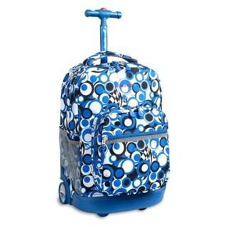 J World New York Sunrise 18 Inch Rolling Backpack, Chess Blue