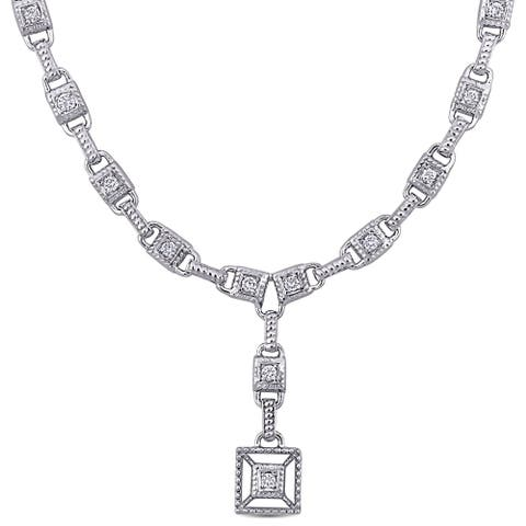 Miadora 14k White Gold 2 1/5ct TDW Diamond Square Tennis Link Drop Necklace - 34 mm x 17 inch x 9 mm