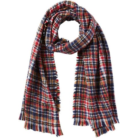 6.25' Red, Blue, and White Stylish and Fashionable Tickled Pink Aspen Dean Plaid Scarf