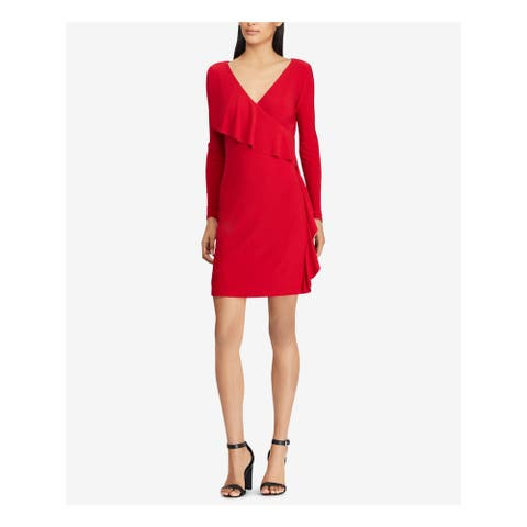 AMERICAN LIVING Womens Red Ruffled Jersey Long Sleeve V Neck Above The Knee Sheath Wear to Work Dress Size: 10