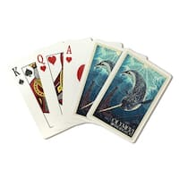 Olympia, WA - Narwhal Letterpress - LP Artwork (Poker Playing Cards Deck)