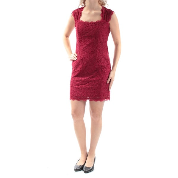2aec55af85f Shop ADRIANNA PAPELL Womens Red Fringed Sleeveless Square Neck Above The  Knee Party Dress Petites Size  4 - Free Shipping On Orders Over  45 -  Overstock - ...