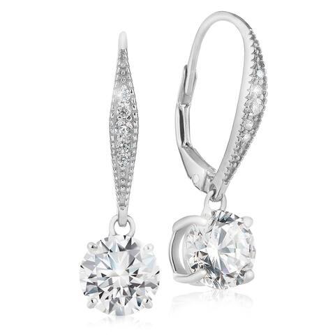 Sterling Silver- Cubic Zirconia, Pave Leverback Dangle Earrings-Lusoro