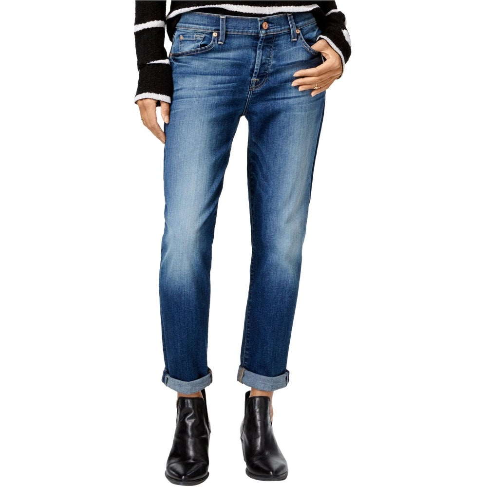 7 For All ManKind Womens Faded Boyfriend Fit Jeans blue 26