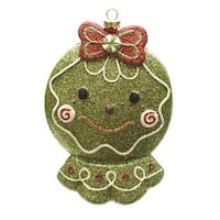 "5.5"" Merry & Bright Green  Red and White Glittered Shatterproof Gingerbread Head Christmas Ornament"