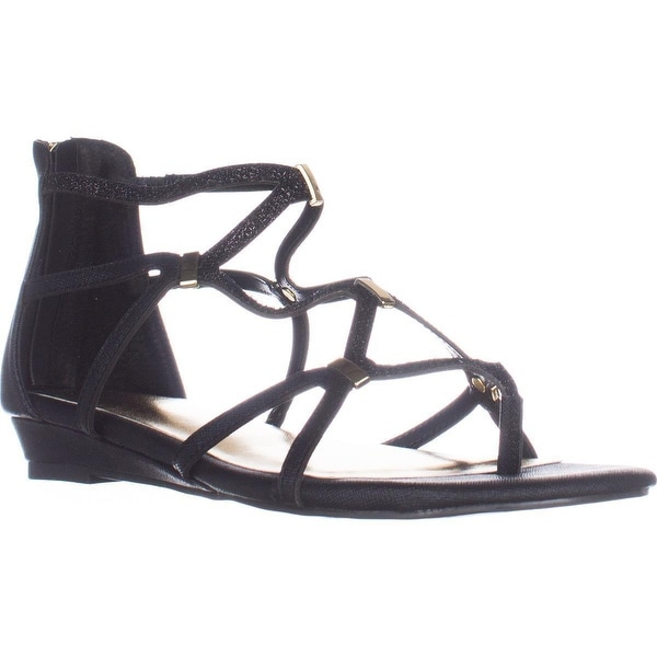 TS35 Pamella Flat Gladiator Sandals, Black Metallic