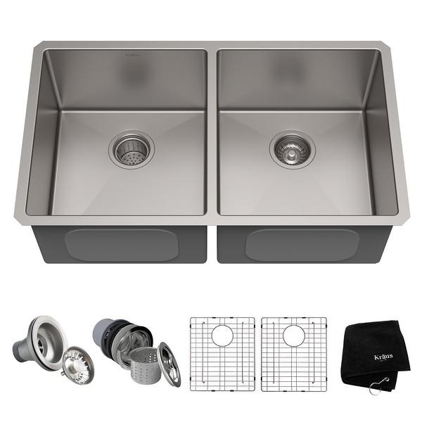 KRAUS Standart PRO Stainless Steel 33 in 50/50 Undermount Kitchen Sink. Opens flyout.