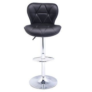 Costway Adjustable PU Leather Bar Stool Swivel Pub Chair