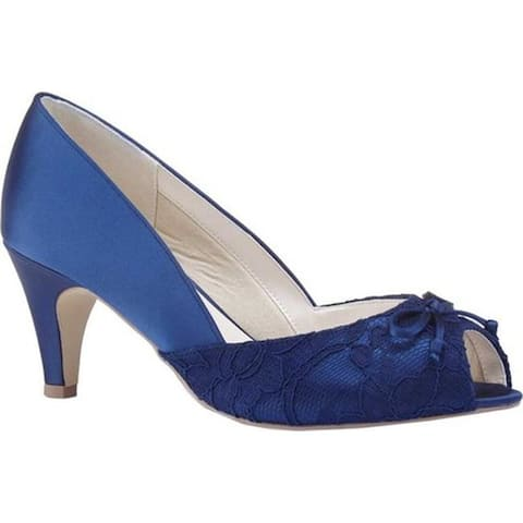 Pink Paradox London Women's Dariela Peep Toe Pump Navy Satin
