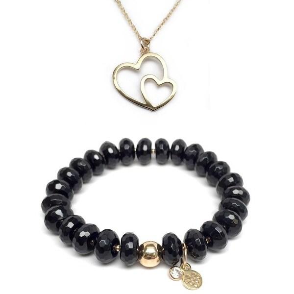 "Black Onyx 7"" Bracelet & Double Heart Gold Charm Necklace Set"