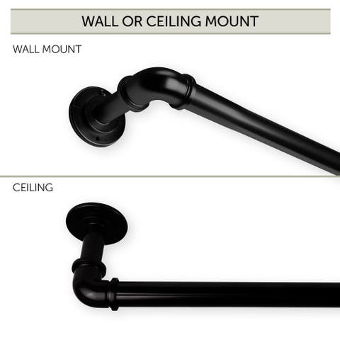"48"" Black Contemporary Pipe Blackout Curtain Rod"