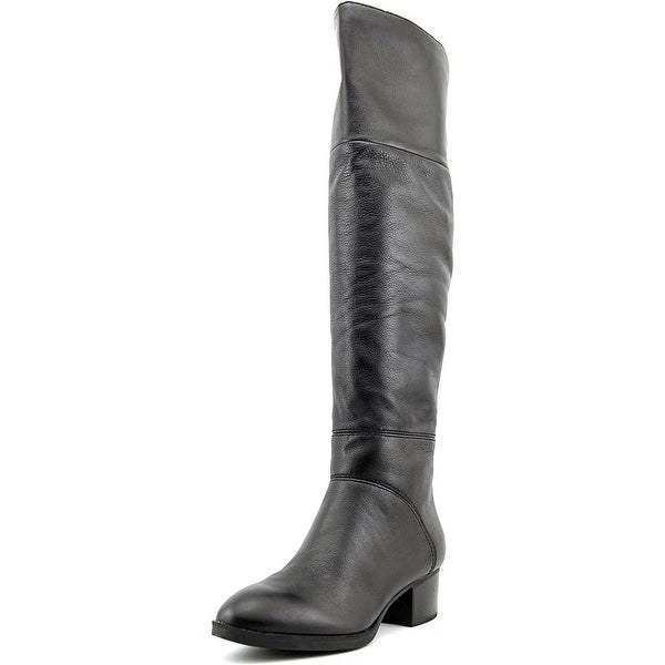 fda8aff69aa6ca Tommy Hilfiger Gianna Women Round Toe Leather Black Over the Knee Boot