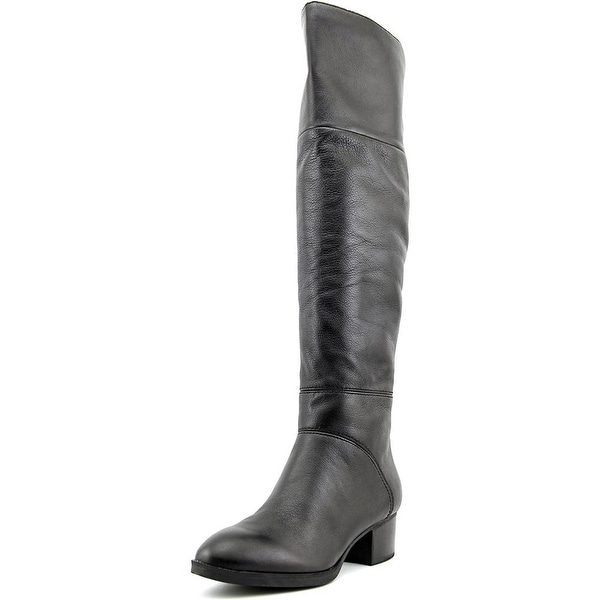 2f61182791a395 Tommy Hilfiger Gianna Women Round Toe Leather Black Over the Knee Boot