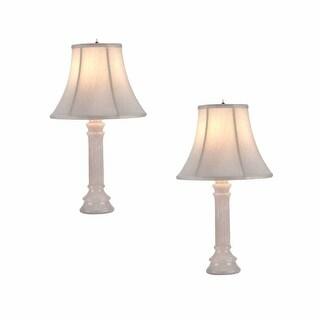2 Table Lamp White Alabaster Pillar Beige Shade 22H