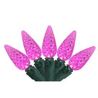 Set of 70 Pink LED Faceted C6 Christmas Lights – Green Wire
