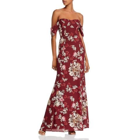 WAYF Womens Maxi Dress Floral Print Sweetheart - Cabernet Flower