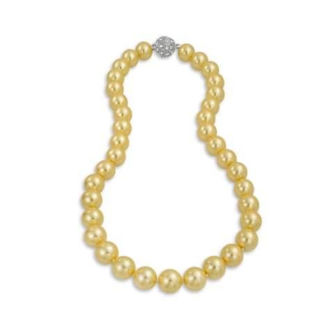 Yellow Strand Necklace Silver Crystal Clasp Imitation Pearl 10MM