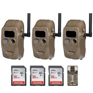 Cuddeback CuddeLink Flash 20MP Trail Camera (3) with 16GB Card (3) and Reader