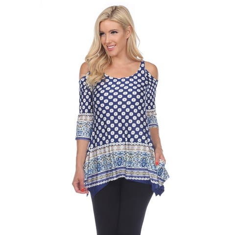 White Mark Woman's Printed Cold Shoulder Tunic