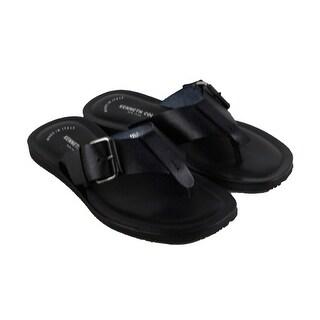 Kenneth Cole Design 10839 Mens Black Leather Flip Flop Slip On Sandals Shoes