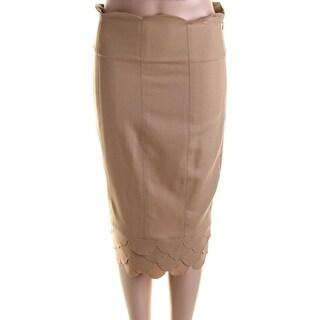 Catherine Malandrino Womens Twill Scalloped Pencil Skirt - S