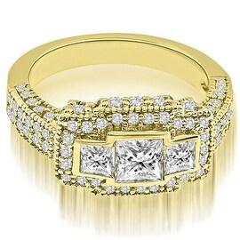 2.25 cttw. 14K Yellow Gold Antique Halo 3-Stone Princess Diamond Engagement Ring