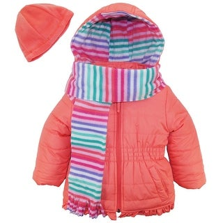 Pink Platinum Little Girls' Puffer Ruffle Coat with Stripe Lining Scarf and Hat