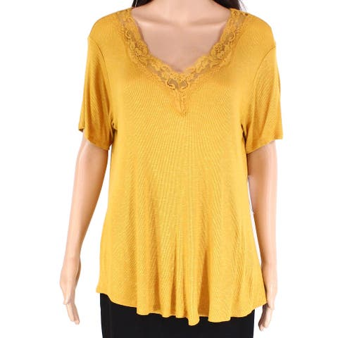 Eyeshadow Women's Knit Top Gold Yellow Size XL Lace-Up V-Neck Ribbed