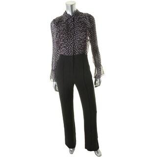 Diane Von Furstenberg Womens Ariella Jumpsuit Silk Printed