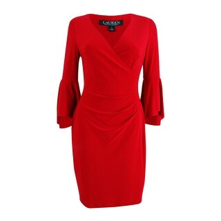 Lauren by Ralph Lauren Women's Petite Bell Sleeve Jersey Sheath Dress - Red