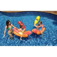 Water Sports Inflatable Swimming Pool Hot Dog Ride On Battle Set with Boppers Game - brown