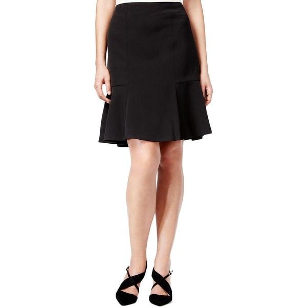 Kasper Womens Petites Geneva Flare Skirt Crepe Knee-Length