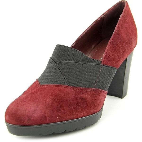 Bella Vita Zeta Women WW Round Toe Suede Burgundy Heels