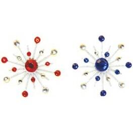 "Blue & Red - Sparkle Burst Brads 1.25"" 6/Pkg"