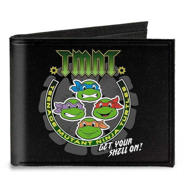 Tmnt Get Your Shell On + Tmnt World Tour 84 Black Gray Green Canvas Bi Fold Canvas Bi-Fold Wallet One Size - One Size Fits most