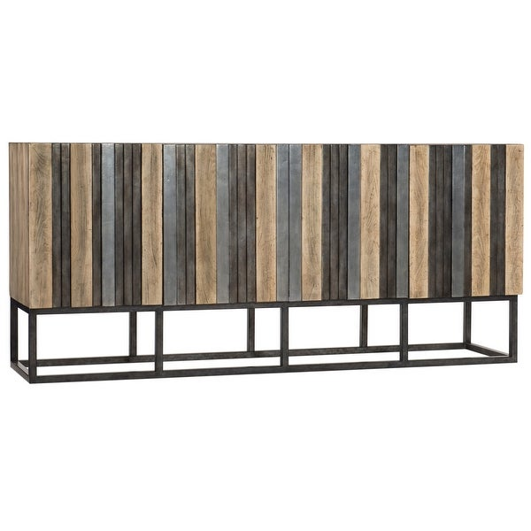 """Hooker Furniture 638-85399 Brady 72"""" Wide 2 Shelf Maple Wood and Metal Accent Cabinet from the Melange Collection"""