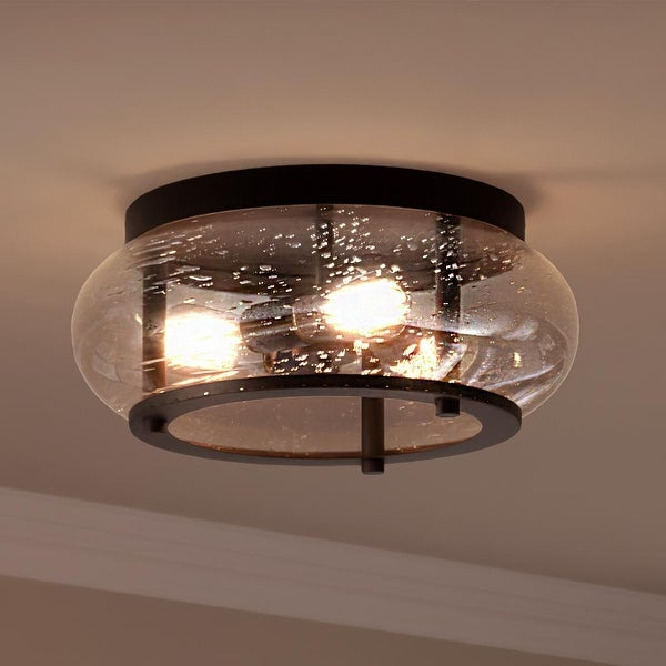 """Luxury Utilitarian Ceiling Light, 7""""H x 16""""W, with Coastal Style, Black Bronze, UQL3301 by Urban Ambiance. Opens flyout."""