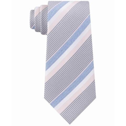 Kenneth Cole Reaction Men's Pink Blue Denim Accent STriped Neck Tie Silk