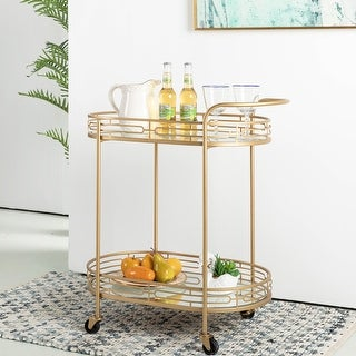 Link to Glitzhome Metallic Gold 2-Tier Serving Bar Cart with Mirrored Glass Similar Items in Home Bars