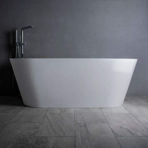 "Vanity Art 59"" Glossy Solid Surface Freestanding Bathtub VA6912-GS - 59"