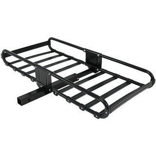 Sunnydaze Basket Style Heavy-Duty Steel Hitch-Mounted Cargo Carrier Rack with Sides and 2-Inch Receiver, 500-Pound Load Capacity
