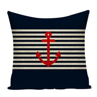 """Link to Beach Home Coastal Themed Nautical Inspired Red Anchor & Stripes Decorative Pillow Cover 18"""" x 18"""" Similar Items in Decorative Accessories"""