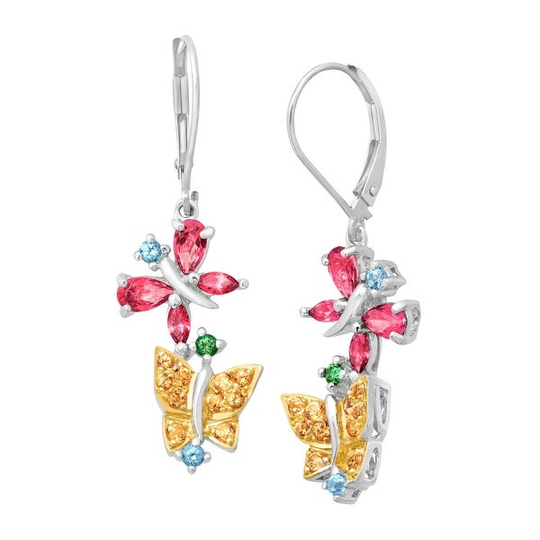 1 3/4 ct Natural Multi-Color Topaz Butterfly Drop Earrings in Sterling Silver & 10K White Gold