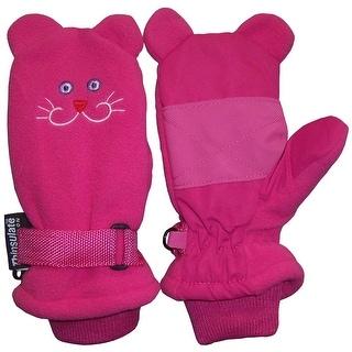 NICE CAPS Girls Thinsulate and Waterproof Kitty Face Mitten - FUCHSIA