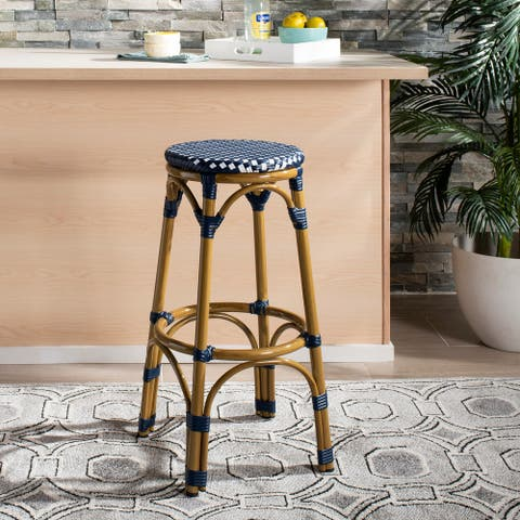 "Safavieh Outdoor Living Kipnuk Indoor-Outdoor Stacking Bar Stool - Navy/White/Light Brown - 20.5""x20.5""x30"""