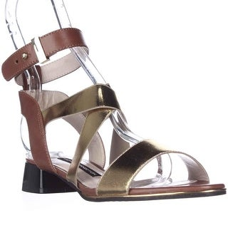 French Connection Corazon Ankle Strap Low Dress Sandals - Gold/Tan