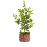 "16"" Artificial Green Cedar Topiary Christmas Table Top Decoration"